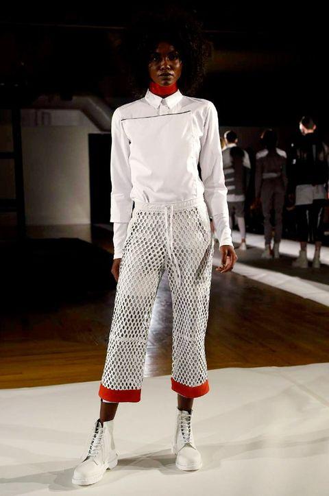 Sleeve, Trousers, Fashion show, Textile, Outerwear, White, Style, Runway, Fashion model, Waist,