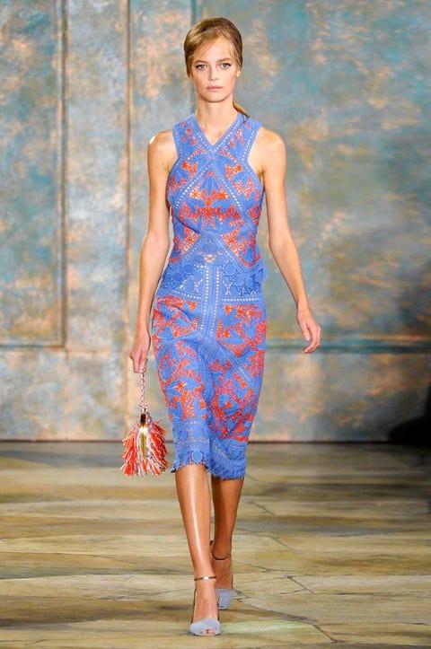 Clothing, Blue, Shoulder, Dress, Joint, One-piece garment, Style, Fashion show, Fashion model, Waist,