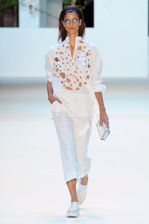 Clothing, Sleeve, Shoulder, Fashion show, Joint, Outerwear, White, Style, Fashion model, Runway,