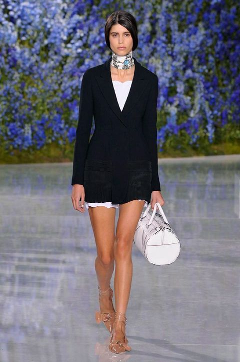 Clothing, Shoulder, Dress, Fashion show, Outerwear, Style, Collar, Jewellery, Fashion model, Formal wear,