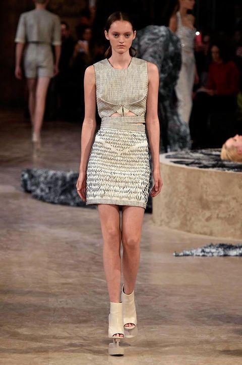Clothing, Human, Leg, Fashion show, Human body, Shoulder, Dress, Runway, Joint, Fashion model,