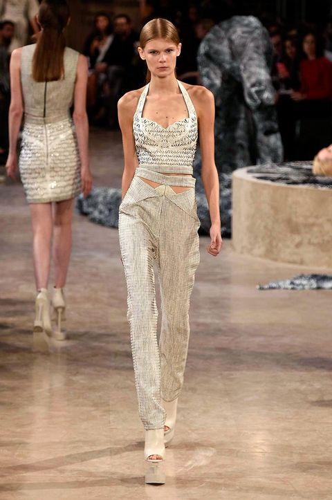 Clothing, Human body, Shoulder, Fashion show, Joint, Style, Dress, Fashion model, Waist, Runway,