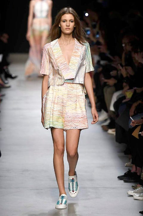 Clothing, Footwear, Leg, Fashion show, Event, Shoulder, Human leg, Joint, Runway, Fashion model,