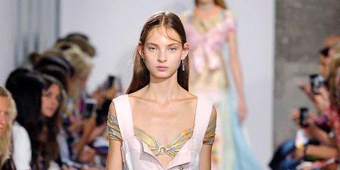 Clothing, Footwear, Fashion show, Event, Shoulder, Runway, Dress, Outerwear, Style, Formal wear,
