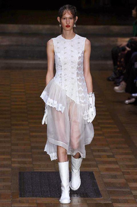 Clothing, White, Dress, Style, Fashion model, Fashion, Street fashion, Fashion show, Waist, Model,