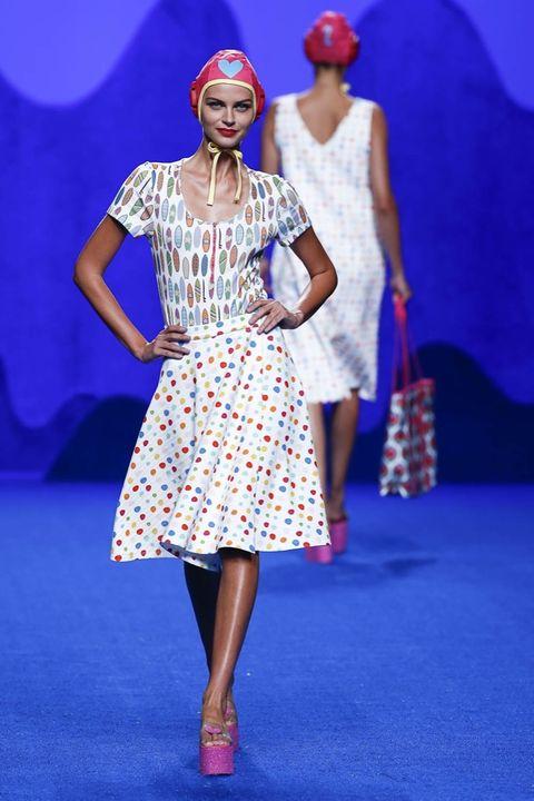 Blue, Dress, Shoe, Red, Entertainment, Flooring, Style, One-piece garment, Electric blue, Fashion,