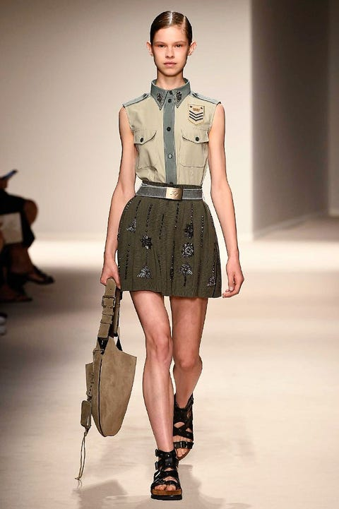 Clothing, Brown, Sleeve, Shoulder, Joint, Fashion show, Fashion model, Waist, Style, Collar,