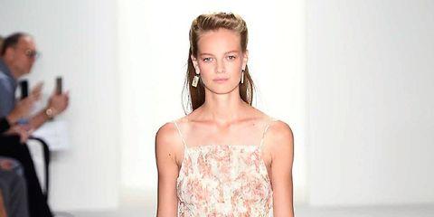 Shoulder, Joint, Dress, One-piece garment, Fashion model, Style, Formal wear, Waist, Fashion show, Pattern,