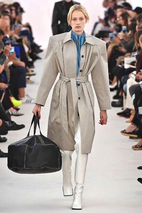 Clothing, Footwear, Fashion show, Outerwear, Runway, Coat, Bag, Style, Fashion model, Street fashion,