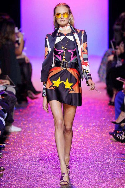 Fashion show, Event, Runway, Outerwear, Dress, Fashion model, Purple, Style, Fashion, Model,