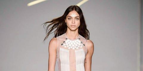 Fashion model, Fashion show, Clothing, Fashion, Runway, White, Shoulder, Dress, Cocktail dress, Haute couture,