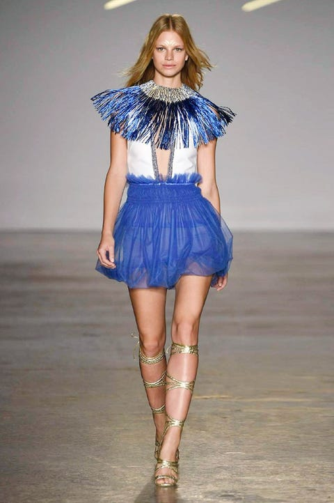 Fashion show, Fashion model, Fashion, Runway, Clothing, Blue, Shoulder, Electric blue, Fashion design, Waist,