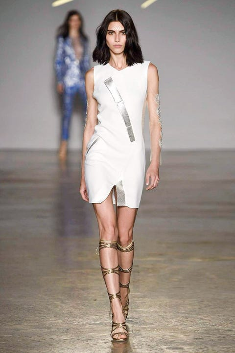 Fashion show, Fashion model, Runway, Fashion, Clothing, Shoulder, Dress, Fashion design, Public event, Joint,