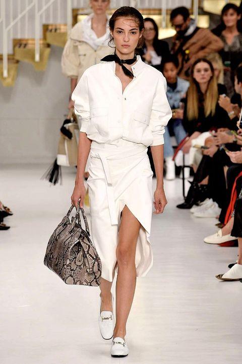 Fashion model, Fashion, Fashion show, Runway, White, Clothing, Haute couture, Public event, Sandal, Shoulder,