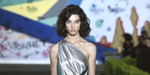 Clothing, Fashion model, Dress, Fashion, Shoulder, Gown, Beauty, Haute couture, Fashion design, Model,