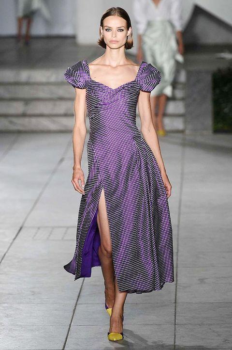Fashion model, Fashion, Clothing, Fashion show, Runway, Purple, Violet, Dress, Shoulder, Haute couture,