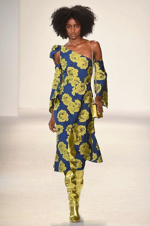 Fashion model, Fashion show, Runway, Fashion, Shoulder, Clothing, Fashion design, Joint, Dress, Footwear,