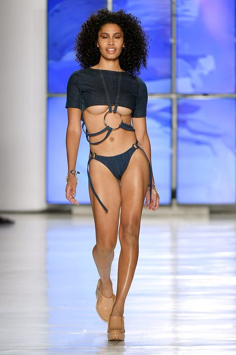 Fashion model, Fashion show, Fashion, Runway, Clothing, Lingerie, Model, Bikini, Beauty, Thigh,