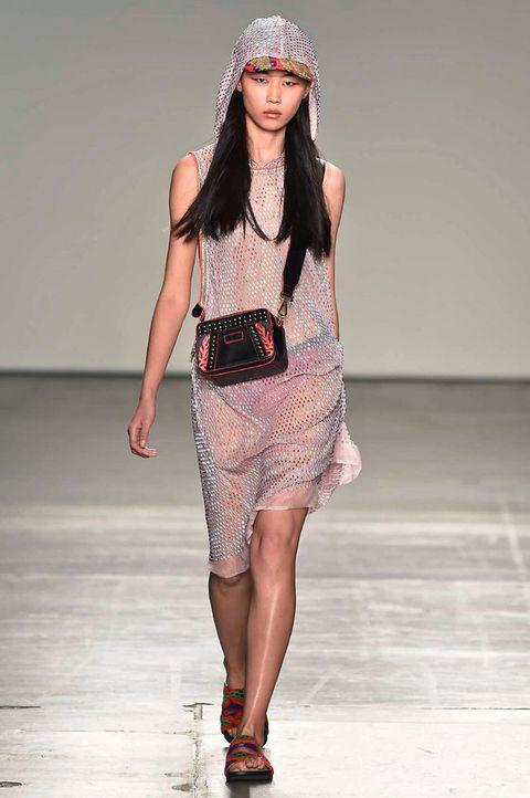 Fashion model, Fashion show, Runway, Fashion, Clothing, Fashion design, Human, Public event, Long hair, Shoulder,