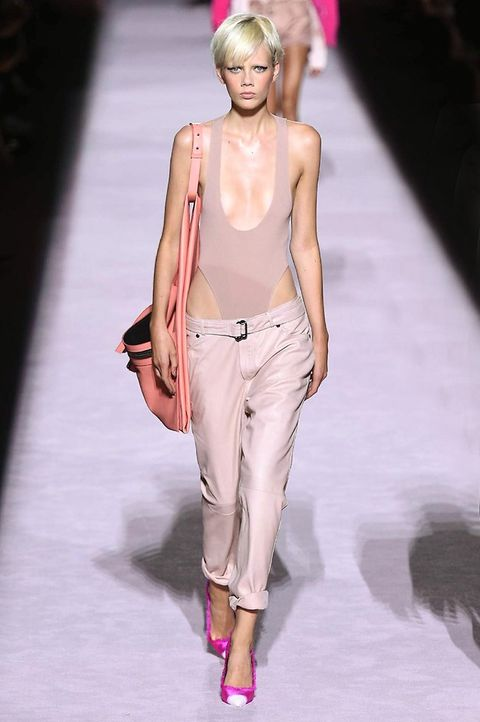 Fashion model, Fashion show, Fashion, Clothing, Runway, Pink, Blond, Shoulder, Human, Lip,