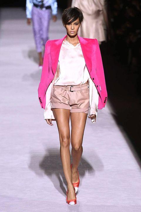 Fashion model, Fashion show, Fashion, Clothing, Pink, Runway, Shoulder, Shorts, Outerwear, Fashion design,