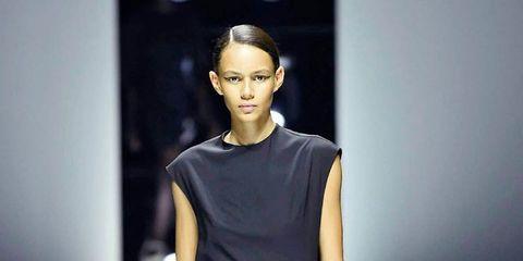 Fashion show, Fashion model, Fashion, Runway, Clothing, Shoulder, Fashion design, Footwear, Dress, Joint,