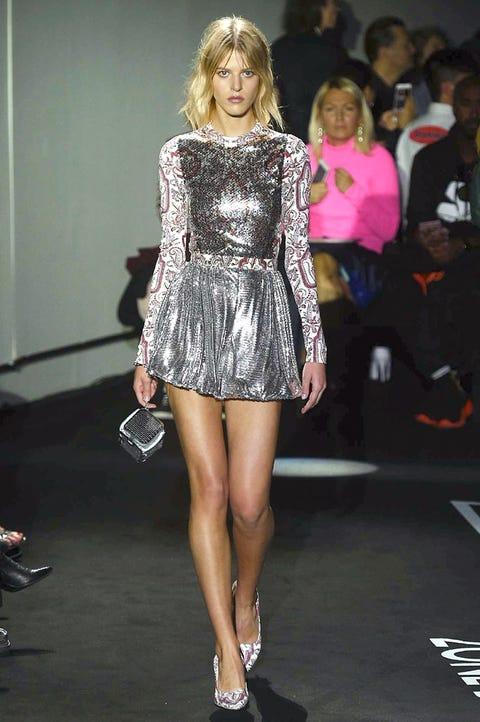 Fashion model, Fashion, Fashion show, Clothing, Shoulder, Blond, Footwear, Leg, Hairstyle, Dress,