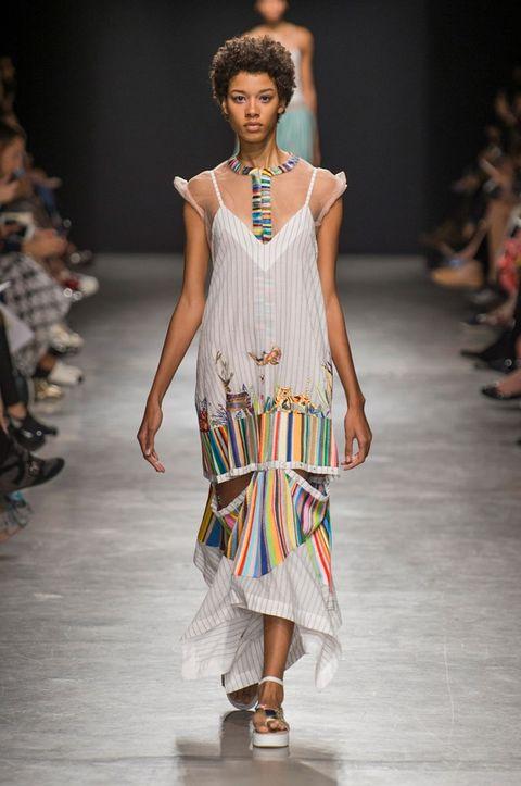 Fashion show, Fashion model, Runway, Fashion, Clothing, Fashion design, Dress, Event, Public event, Shoulder,