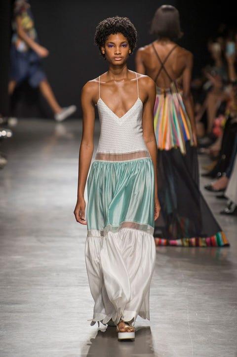 Fashion model, Fashion show, Runway, Fashion, Clothing, Fashion design, Dress, Shoulder, Event, Public event,
