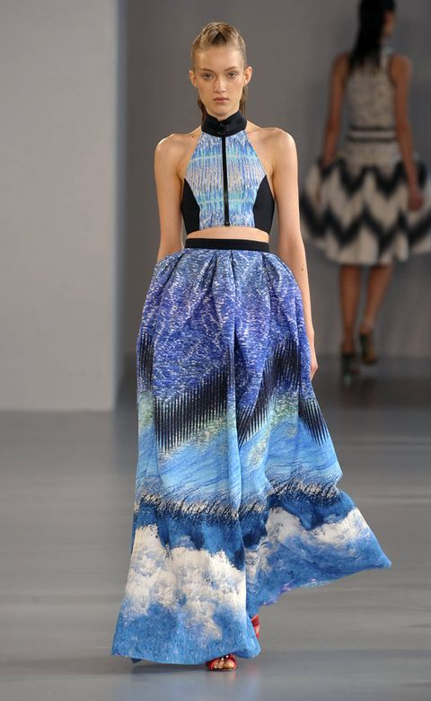 Clothing, Blue, Fashion show, Shoulder, Joint, Runway, Fashion model, Style, Pattern, Dress,