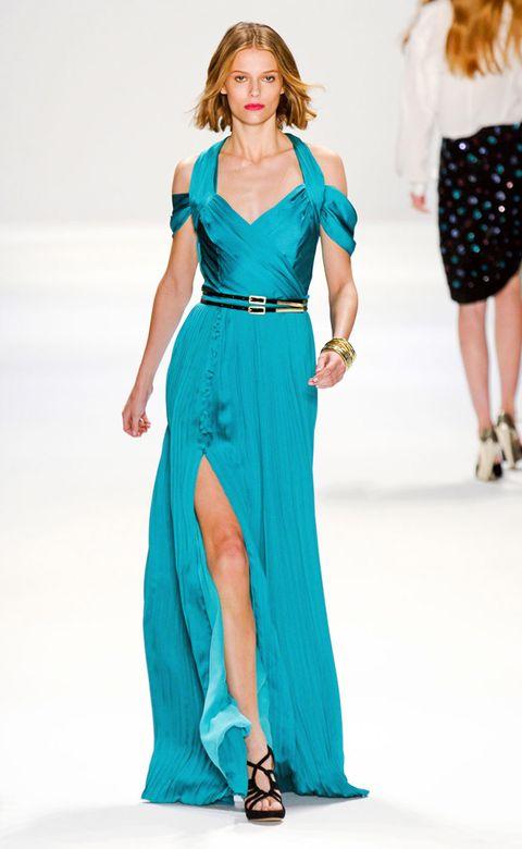 Clothing, Footwear, Blue, Shoulder, Fashion show, Joint, Outerwear, Dress, Formal wear, Style,