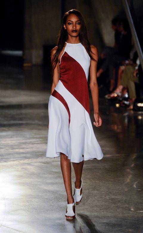 Clothing, Fashion show, Human leg, Shoulder, Joint, White, Runway, Dress, Style, Fashion model,