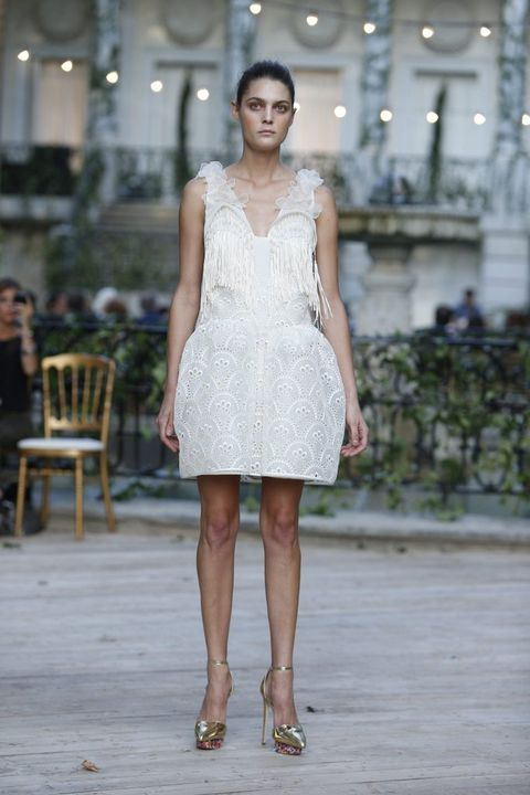 Clothing, Dress, Shoulder, Joint, Human leg, Fashion show, Style, One-piece garment, Summer, Runway,