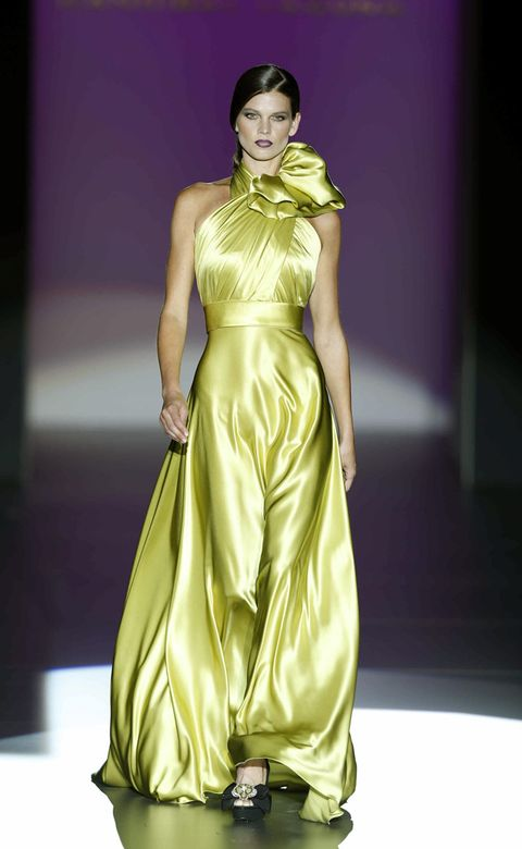 Yellow, Green, Shoulder, Dress, Textile, Joint, Formal wear, Style, Fashion model, One-piece garment,