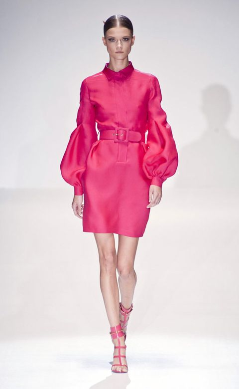 Fashion show, Sleeve, Shoulder, Runway, Joint, Red, Pink, Style, Fashion model, Magenta,