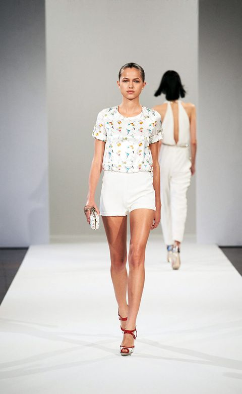 Clothing, Leg, Fashion show, Sleeve, Skin, Human leg, Shoulder, Joint, Waist, Runway,