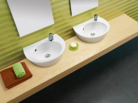Sink, Bathroom sink, Bathroom, Tap, Wall, Room, Plumbing fixture, Ceramic, Interior design, Countertop,