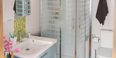 Plumbing fixture, Blue, Product, Room, Floor, Bathroom sink, Interior design, Flooring, Architecture, Wood,
