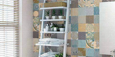 Room, Interior design, Wall, Window covering, Shelving, Plumbing fixture, Bathroom sink, Window blind, Fixture, Tile,