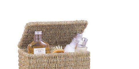 Wicker, Bottle, Home accessories, Beige, Basket, Perfume, Rectangle, Glass bottle, Straw, Storage basket,
