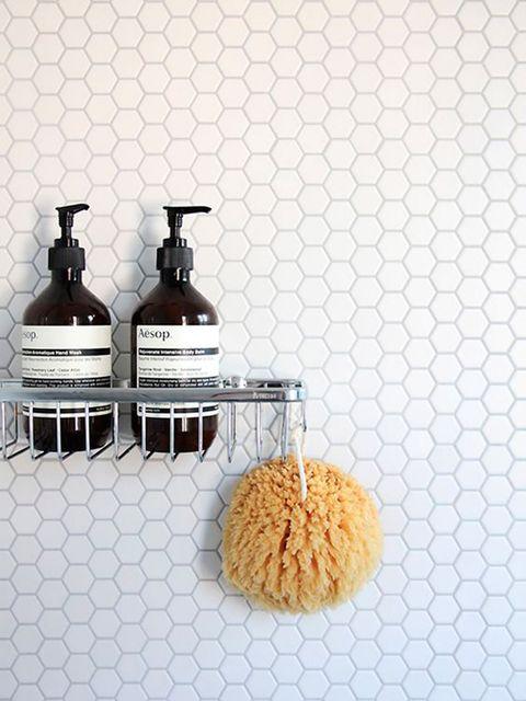 Bathroom accessory, Liquid, Room, Floor, Flooring, Soap dispenser, Tile,