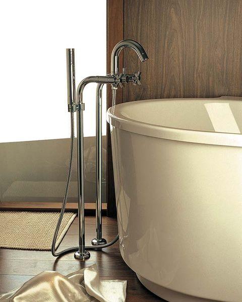Floor, Product, Flooring, Wall, Plumbing fixture, Fixture, Beige, Bathtub accessory, Metal, Composite material,