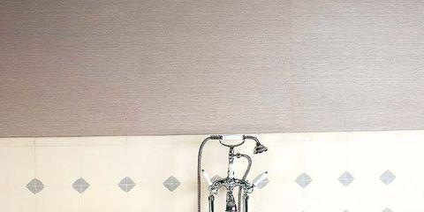 Plumbing fixture, Product, Property, Floor, Wall, Purple, Flooring, Bathtub accessory, Bathroom accessory, Tap,