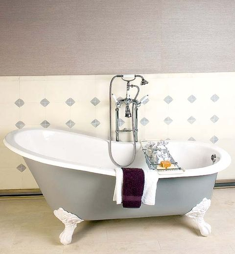 Plumbing fixture, Product, Property, Floor, Wall, Purple, Flooring, Bathtub accessory, Bathroom accessory, Tap,