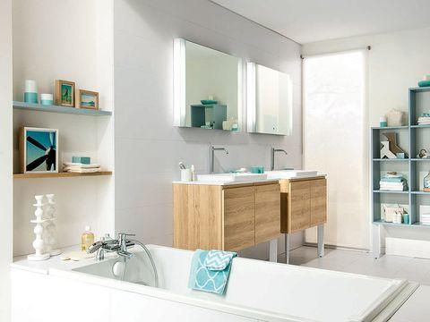 Blue, Room, Green, Interior design, Shelving, Turquoise, Teal, Aqua, Shelf, Plumbing fixture,