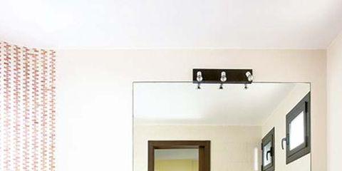 Room, Interior design, Property, Floor, Wall, Plumbing fixture, Flooring, Tile, Bathroom sink, Interior design,
