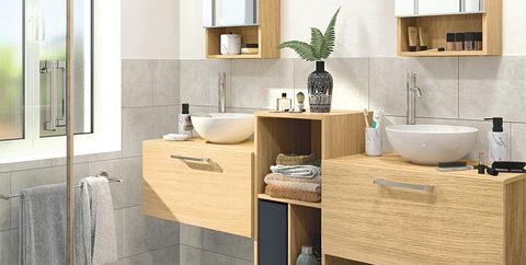 Bathroom, Room, Furniture, Product, Sink, Property, Bathroom cabinet, Tile, Floor, Tap,