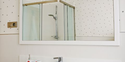 Plumbing fixture, Room, Bathroom sink, Interior design, Property, Architecture, Tap, Wall, White, Glass,