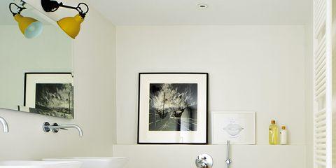 Room, Yellow, Interior design, Plumbing fixture, Property, Wall, Floor, Interior design, Ceiling, Flooring,