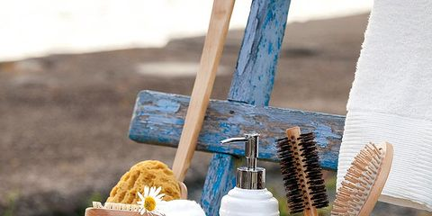 Liquid, Azure, Household supply, Brush, Cosmetics, Rope, Bottle, Peach, Home accessories, Outdoor furniture,